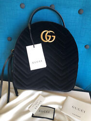 New Gucci GG Marmont Black Velvet Backpack