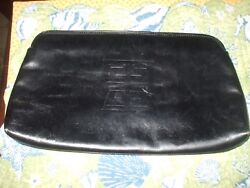 Authentic Givenchy Sac black soft leather clutch evening bag travel makeup bag
