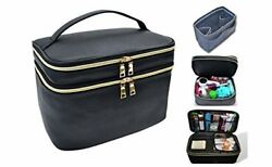 Extra Large Capacity Makeup and Toiletry Bag Tote with Felt Insert Organizer Bi