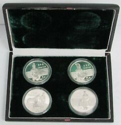 1984 Silver China 4 Coin Historical Figures Original Proof Set In Box