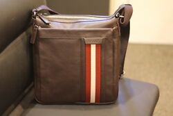 Auth Bally Oiston Chocolate Brown Calf Leather Messenger Shoulder Laptop Bag New
