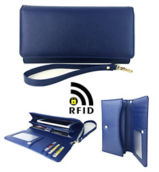 Womens RFID Blocking Wallet Classic Clutch Leather Long Wallet Card Holder Purse