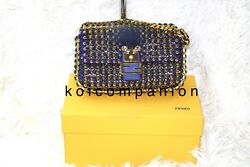 Sold Out Fendi Monster Fox-fur Baguette Blue-gold Micro Bags And Box