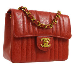 Auth CHANEL Mademoiselle Single Chain Shoulder Bag Red Caviar Leather AK25448
