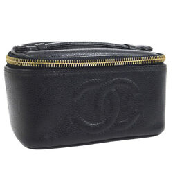 Authentic CHANEL CC Logos Cosmetic Hand Bag Pouch Black Caviar Leather AK22643