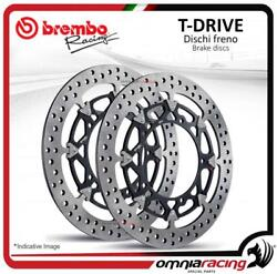Pair Of Front Brake Discs Brembo T Drive 320mm For Yamaha Yzf R6 20052016