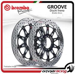 Pair Of Brembo The Groove Front Brake Discs 300mm For Yamaha Tdm 900 20022010