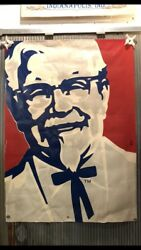 BIG VINTAGE KENTUCKY FRIED CHICKEN KFC COLONEL SANDERS BANNER SIGN 61x85