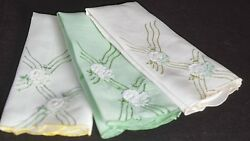 Trio Of Lovely Vintage Madeira Hand-embroidered Linen Towels Uu23