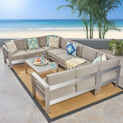Emily Coral Outdoor 9-seater Aluminum Sectional Sofa Set With Coffee Table, Silv