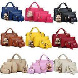 Set of 4 Women Leather Handbag Lady Shoulder Bag Tote Satchel Purse Card Holder $20.58