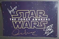 Star Wars The Force Awakens Castx4 Harrison Ford Hand-signed 11x17 Proof