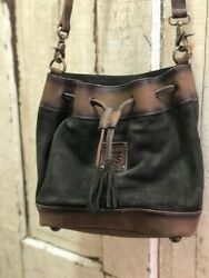 STS Ranchwear Heritage Brown Suede amp; Leather Concealed Carry Bucket Bag STS37027 $119.95