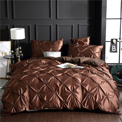Solid Coffee Pinch Pleat Duvet Cover Sets Queen King Pillowcase Luxury Bed Linen