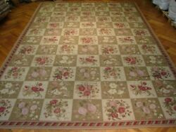 12x18 Needlepoint Wool Imported Handmade Multi Color All-over Floral Bouquet Rug