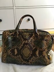 Authentic Prada Cervo Lux Snake Print Verde Top Handle Bauletto Satchel Tote
