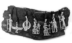 Egyptian Hieroglyphs God And Goddess 925 Sterling Silver Necklace Pendant Jewelry