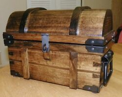 Slacker Reinforced Coin Treasure Chest - Wood And All Black Hardware - 2 Sizes
