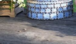 Cake Stand Hand Painted Inspired In Mexican Talavera. Made In Peru. Mirror Top