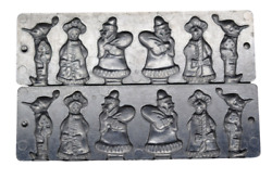 Fine Antique Russian Chocolate Mold Santa Imp And A Girl 6¼ X 2¾ With Clips
