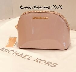 Michael Kors Jet Set $98 PATENT LEATHER Cosmetic Makeup Bag Pouch~Soft PINK~NWT