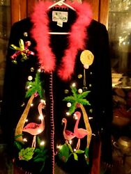Flamingo Fab L Xxl Xl Ugly Christmas Sweater Lights M Boa Feathers Pink Green