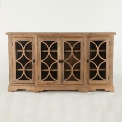 75 L Circle Glass Panel Cabinet Antique Oak Finished Mango Wood Hand Crafted