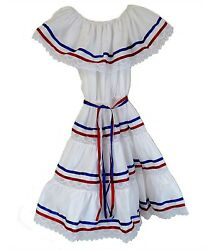Made In Mexico Puerto Rican Dominican Cuban Colors Dress Ethnic Ribbons