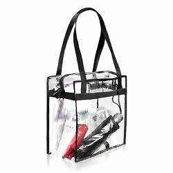 Clear Tote Bag with Zipper Closure Clear Bag Top Stadium Security Travel Work $9.74