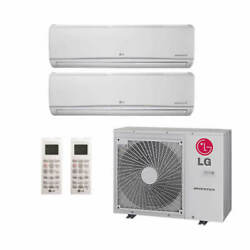 Lg Wall Mounted 2-zone System - 30000 Btu Outdoor - 15k + 15k Indoor - 19.7 ...