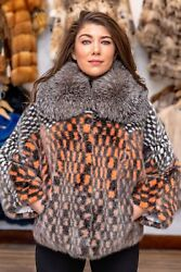 Multicolor mink and fox fur collar jacket  cape size M
