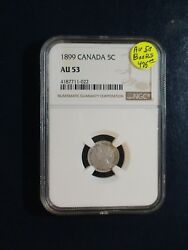 1899 Canada Five Cents Ngc Au53 Rare Silver 5c Coin Priced To Sell Quickly