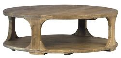 48 Dia. Coffee Table Hand Crafted Reclaimed Elm Wax Finish One Of A Kind Rustic