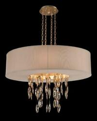36 W Pendant Chandelier Suspended Bias Cut Faceted Crystals In Metal Settings