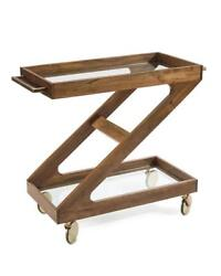 39.5 W Z Rolling Bar Cart Natural Hand Crafted Mango Wood Glass Shelves
