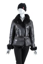 8950$ GUCCI WOMENS LEATHER SHEARLING REAL FUR GG BELTED JACKET COAT TOM FORD 44