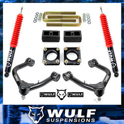 3 Front 2 Rear Leveling Lift Kit W/ Wulf Shocks For 2007-2021 Toyota Tundra