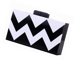 Women Acrylic Silver and Gold Box Clutch Purse Striped Evening Crossbody Bags