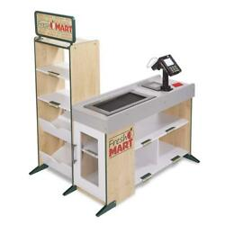 Freestanding Wooden Fresh Mart Pretend Grocery Store Role Play Cash Drawer Scan
