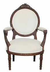 French Hand Carved Walnut Rams Head Chair