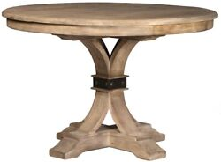 46 Dia. Igor Table Solid Reclaimed Old Wood Curved Trestle Steel Buckle Detail