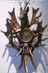Antique / 19th Century Wooden Carved Hunting - Clock With Antlers + Fangs