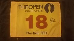 Phil Michelson Signed 2013 British Open Flag Muirfield