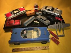 Vtg toy old tin Airplanes cars wind up rubber wheels parts motors pond nautical.