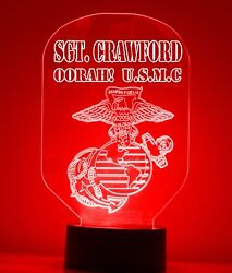Us Marine Lamp Usmc Light Up Table Lamp Free Personalize Led With Remote Engrave