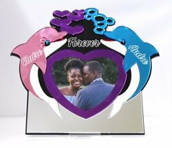 Double Dolphin Love Heart Valentines Day - Love Picture Frame Personalized Free