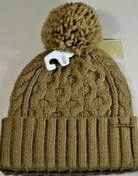 MICHAEL KORS CABLE KNIT BEANIE HAT CAMEL WITH POM POM  $48