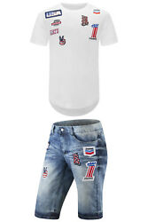 New Men White Patriot America #1 T-Shirt Shorts Patches Stitch-On All Sizes