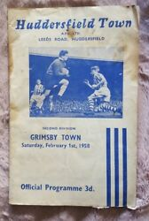 HUDDERSFIELD TOWN v GRIMSBY TOWN. Feb 1st 1958. Football Programme. Terriers