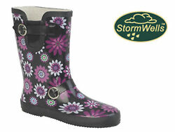 Ladies Stormwells Wellies Floral Buckle Strap Gusset Short Wellington Rain Boots